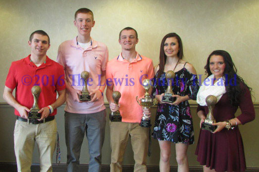 First Team All EKC, left to right, Jake Parker, Jason Kiebler, Trenton Walker, Abby Pick and Jaycey Fite.