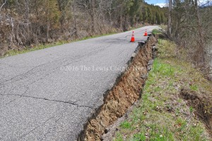 Damage is evident to this section of Big Cabin Creek Road. Emergency state funding has been approved for repairs. - Photo by Dennis Brown