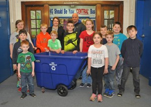 The Recycling Team at LCCE with Principal Stacy Kidwell and Vanceburg Mayor Matt Ginn. - Photo by Dennis Brown