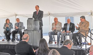 Rep. Rocky Adkins speaks during the groundbreaking ceremony at Superior Composites. Left to right, Amy Kennedy, Todd Ruckel, Rocky Adkins, Matt Ginn, Kenn Moritz and John Tippins. - Photo by Dennis Brown