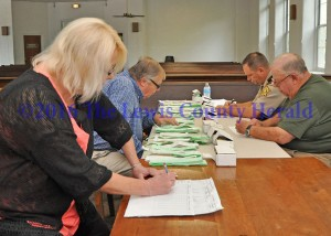 Members of the Lewis County Board of Elections conducted a recanvass of the presidential primary election. Pictured, left to right, are County Clerk Glenda Himes, George Plummer, Sheriff Johnny Bivens and Grover Evans. - Photo by Dennis Brown