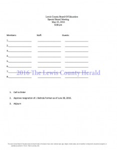 Agenda for the special meeting of the Lewis County Board of Education.