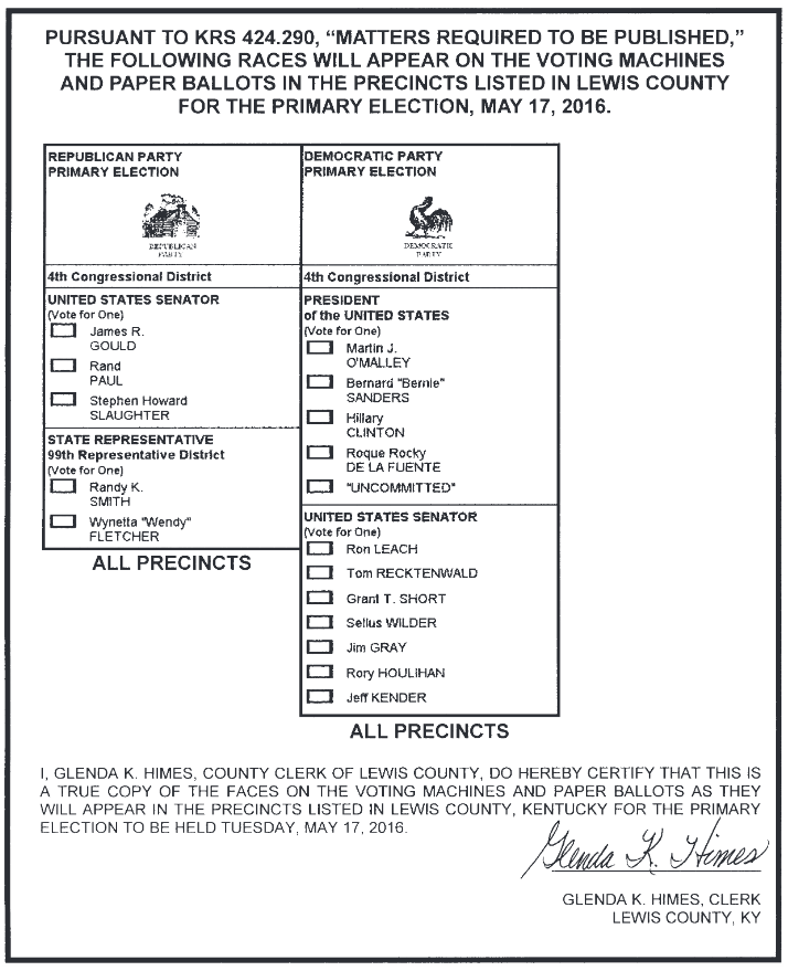 Primary Election Sample Ballot
