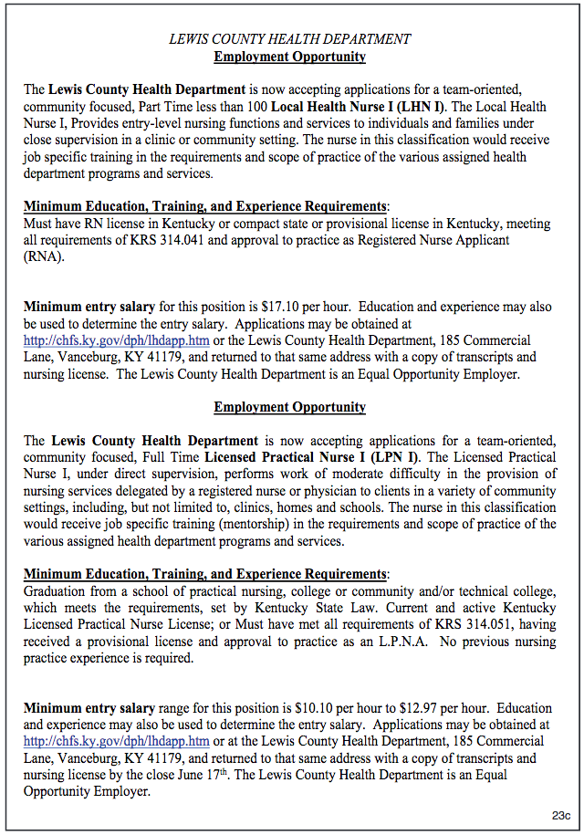 Lewis County Health Department Employment Opportunity