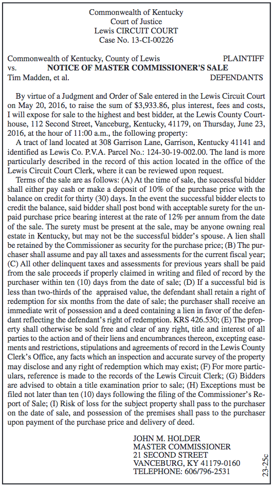Notice of Master Commissioner's Sale, Commonwealth of Kentucky, County of Lewis vs Tim Madden, et al.