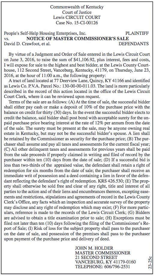 Notice of Master Commissioner's Sale, People's Self-Help Housing Enterprises, Inc. vs David D. Crawfoot, et al.