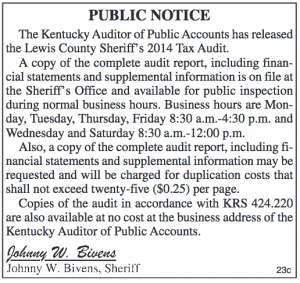 Public Notice Sheriff's 2014 Tax Audit