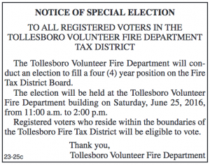 Tollesboro VFD Tax District Board Special Election