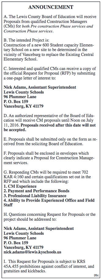 Board of Education invitation to receive proposals from construction managers