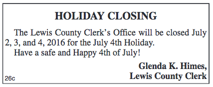Lewis County Clerk Holiday Closing