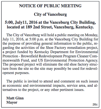 City of Vanceburg Notice of Public Meeting