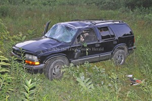 This reportedly stolen Chevy Blazer was involved in a single vehicle accident Tuesday evening near Burtonville. - Photo by Dennis Brown