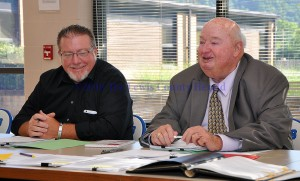 School Board Chair Bryan McRoberts, left, and Interim Superintendent Donald Pace discuss the process of finding a new Superintendent for the Lewis County School District. The search is officially underway and will be conducted in-house. - Photo by Dennis Brown