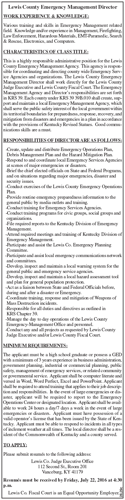 Lewis County Position for Emergency Management Director