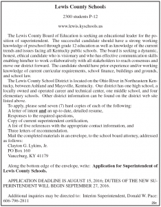 Lewis County Schools seeking superintendent