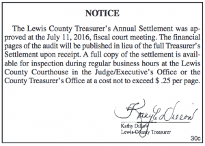 Notice for Lewis County Treasurer's Annual Settlement