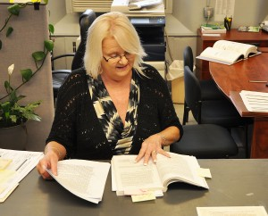 Lewis County Clerk Glenda Himes reviews Kentucky law regarding elections in which no candidates have filed for a specific office. - Photo by Dennis Brown