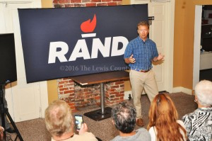 US Sen. Rand Paul speaks to a gathering of supporters in Vanceburg during a Town Hall Meeting on Thursday. - Photo by Dennis Brown