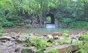 This Quincy swimming hole, known at The Pretty Place, was recently vandalized with graffiti. Sheriff Johnny Bivens is investigating. - Photo by Dennis Brown
