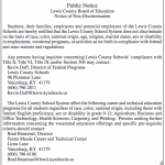 Annual Notice of Non-Discrimination, Lewis County Board of Education