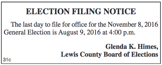 Election Filing Notice for General Election