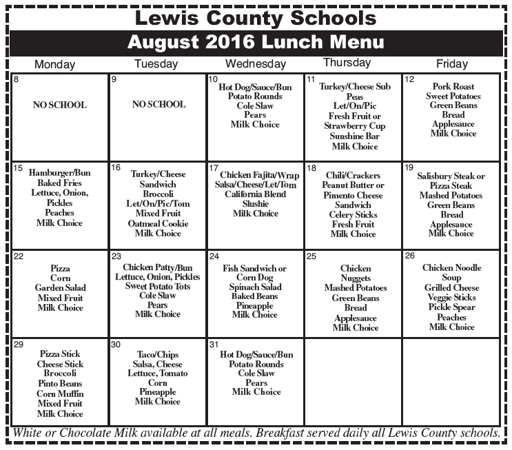 Lewis County Schools August 2016 Lunch Menu