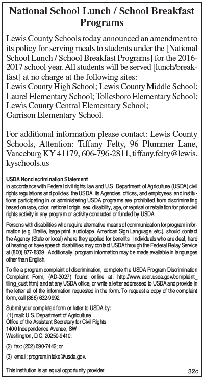 Lewis County Schools National School Lunch/Breakfast Programs