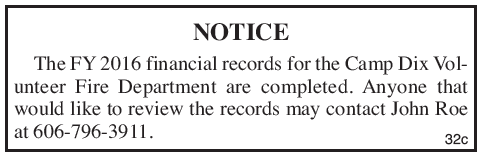 Camp Dix Volunteer Fire Department 2016 financial records notice