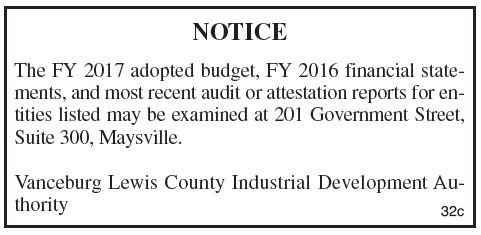 Industrial Development Authority FY 2016 Financial Statements, Industrial Development Authority FY 2017 Adopted Budget notice