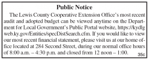 Lewis County Extension Office Budget Notice