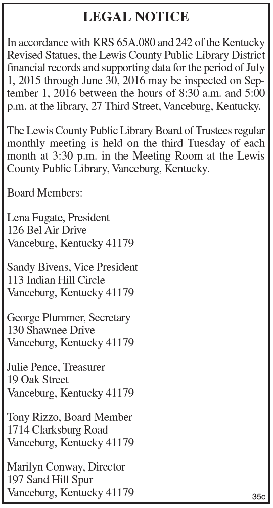 Lewis County Public Library Financial Records Inspection Notice