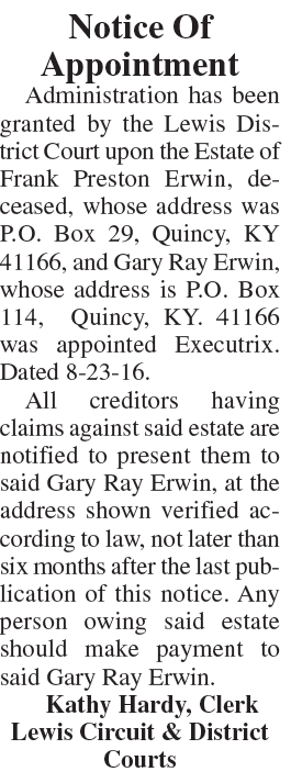 Notice of Appointment Estate of Frank Preston Erwin
