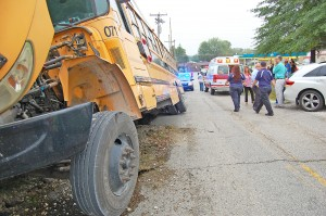Five Lewis County students were taken to a Portsmouth, Ohio, hospital following an accident involving a school bus this morning in Garrison. None of the injuries were reported to be serious. - Dennis Brown Photo