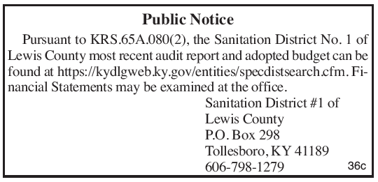 Lewis County Sanitation District No 1, budget, financial statements
