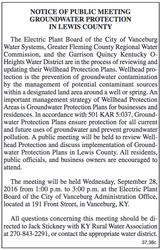 Notice of public meeting, groundwater protection in Lewis County