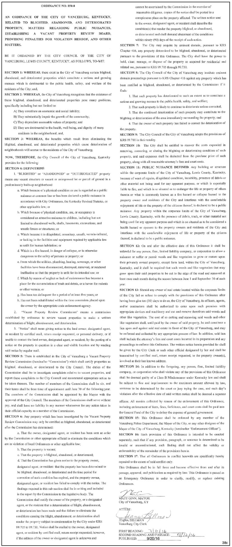 Vanceburg Ordinance 850.0, Blighted Properties