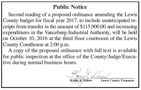 Public notice of second reading of budget ordinance