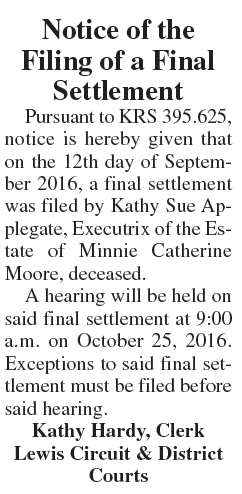 Notice of the Filing of a Final Settlement, Estate of Minnie Catherine Moore