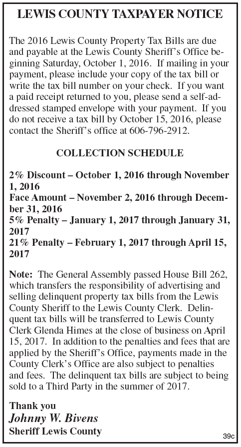 Lewis County Taxpayer Notice