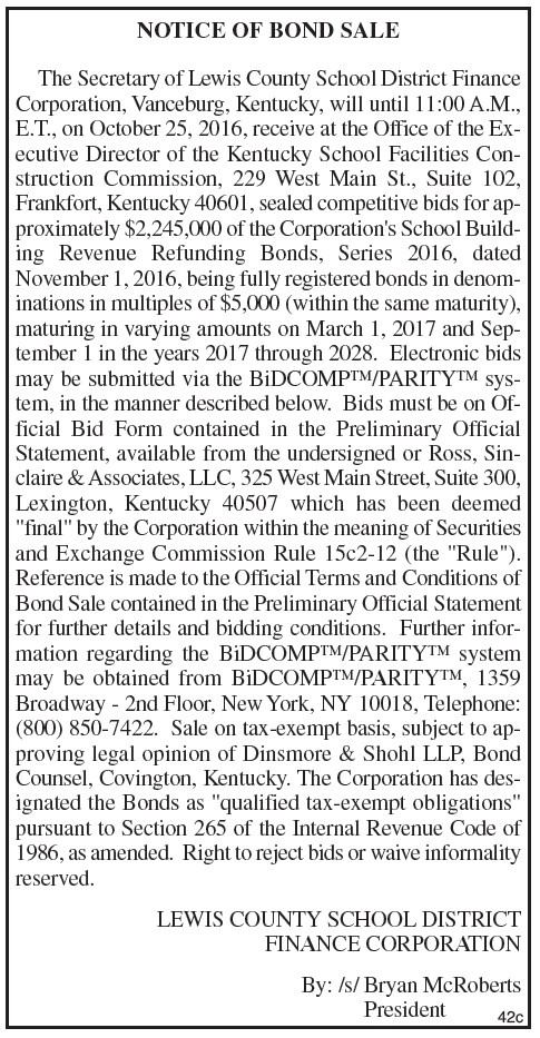 Notice of Bond Sale, Lewis County Schools