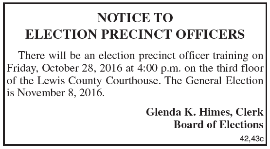 Notice to Election Precinct Officers