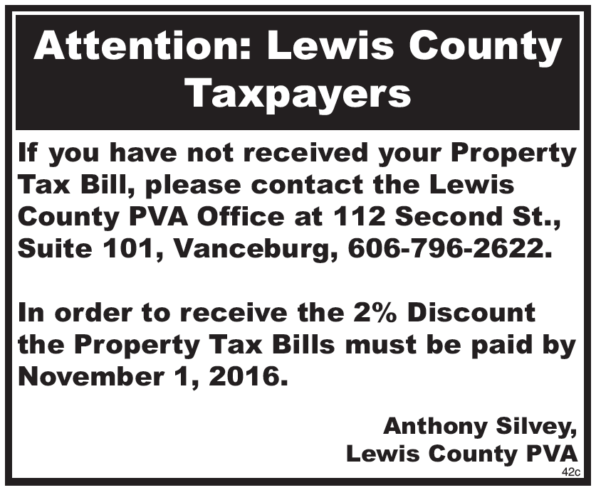 Notice to Lewis County Taxpayers