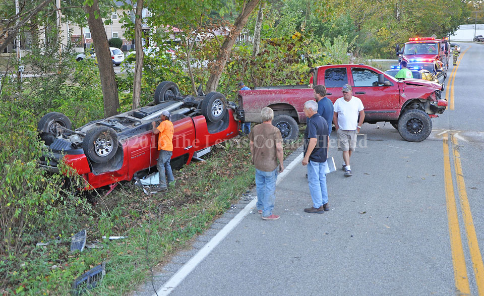 No one was hurt as the result of an accident involving these pick-up and a log truck on Ky. Rt. 59 in Vanceburg. - Dennis Brown Photo