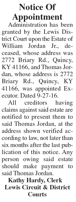 Notice of Appointment, Estate of William Jordan Jr.