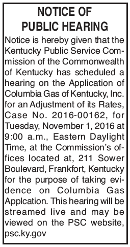 Kentucky Public Service Commission, Notice of Public Hearing, Columbia Gas adjustment of rates
