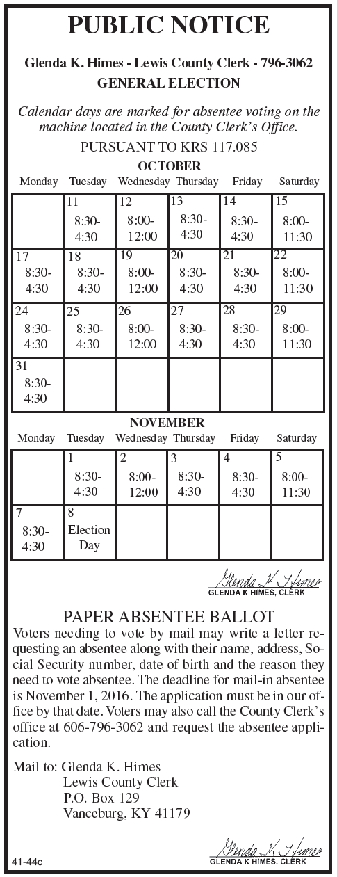 General Election, Absentee Voting