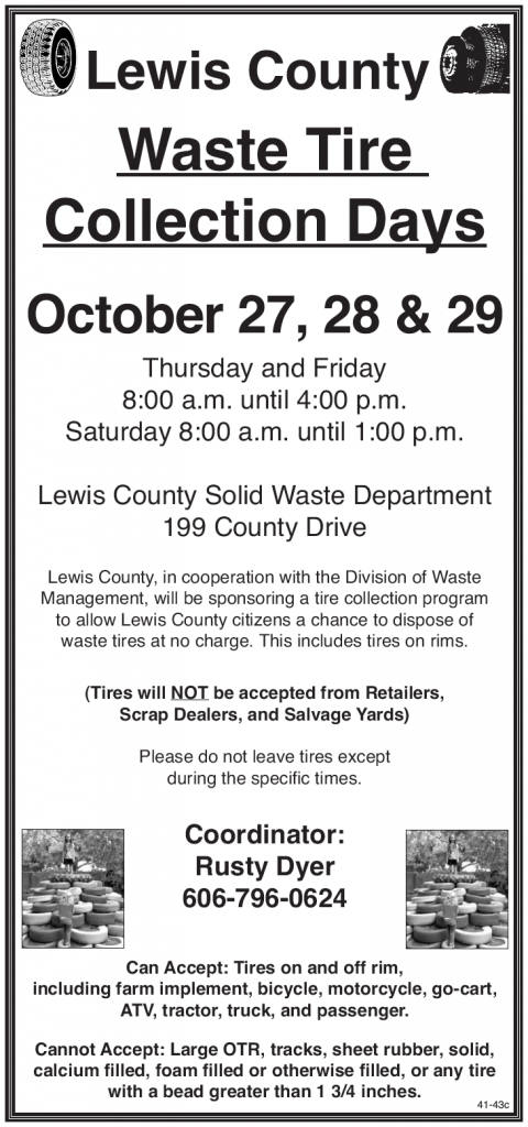 Lewis County Waste Tire Collection Days