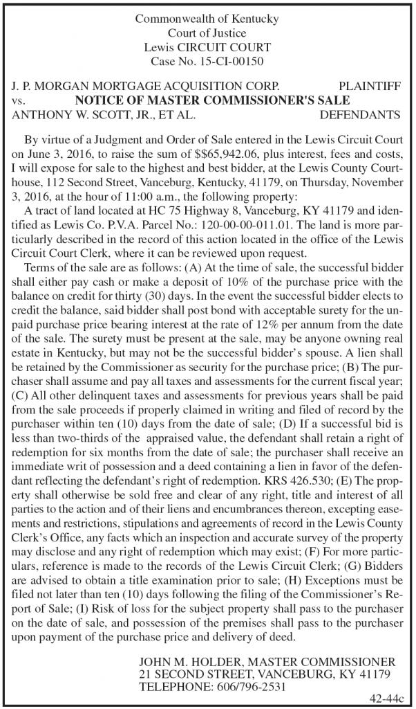 Master Commissioner's Sale, JP Morgan Mortgage Acquisition vs Anthony W Scott Jr ET AL