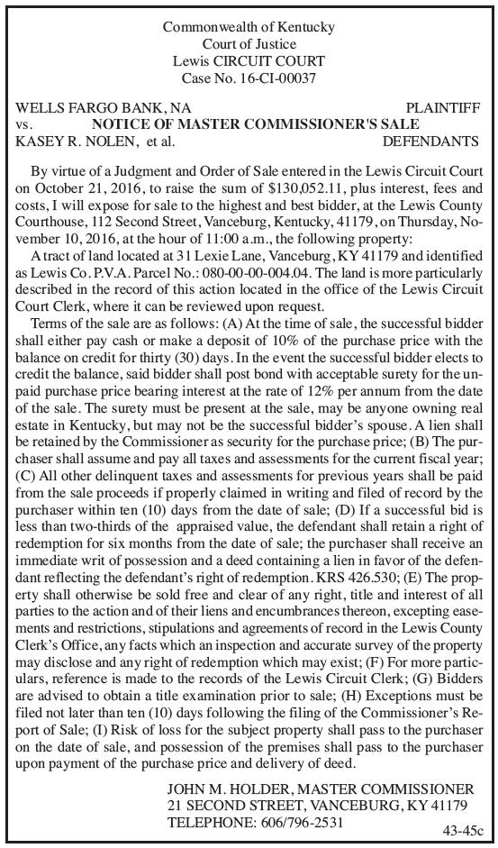 Notice of Master Commissioner's Sale, Wells Fargo Bank NA vs Kasey R Nolen et al