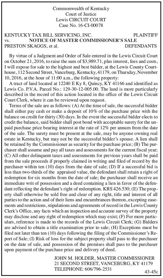 Notice of Master Commissioner's Sale, Kentucky Tax Bill Servicing Inc vs Preston Skaggs et al
